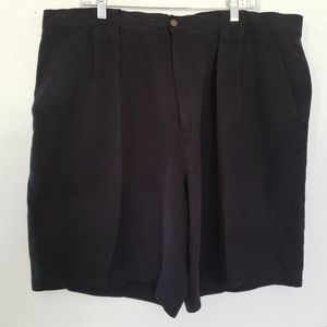 Tommy Bahama Shorts 100% Silk Black Wood Button